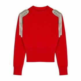 Christopher Kane Red Embellished Merino Wool Jumper