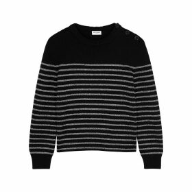 Saint Laurent Black Striped Metallic-weave Jumper