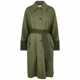 Loewe Army Green Panelled Cotton Trench Coat
