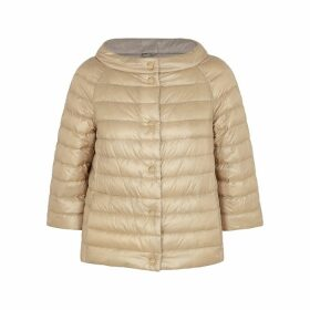 Herno Reversible Champagne Quilted Shell Jacket