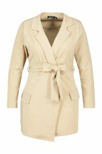 Womens Plus Pinstripe Belted Tie Blazer - beige - 20, Beige