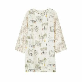 La Prestic Ouiston Madrid Ivory Printed Silk Dress