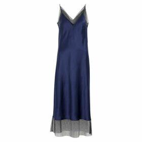 Walk Of Shame Navy Mesh-trimmed Silk Midi Dress