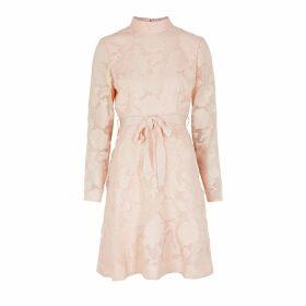 KEEPSAKE Offset Blush Floral Fil Coupé Mini Dress