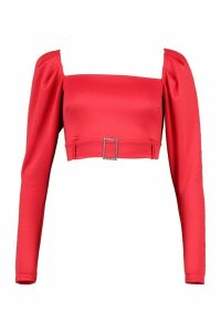 Womens Puff Sleeve Square Neck Diamante Buckle Top - red - 8, Red