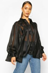 Womens Satin Stripe Oversized Blouse - black - 14, Black
