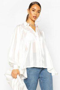 Womens Satin Stripe Oversized Blouse - white - 14, White