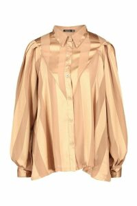 Womens Satin Stripe Oversized Blouse - beige - 6, Beige