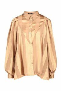 Womens Satin Stripe Oversized Blouse - beige - 8, Beige