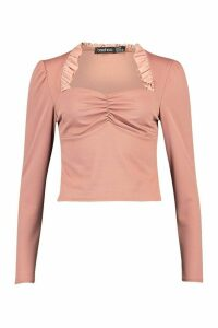 Womens Textured Ruched And Ruffle Detail Top - Pink - 6, Pink