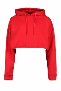 Womens Basic Cropped Hoodie - Red - 16, Red