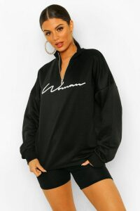 Womens Woman Slogan Rib Neck Zip Sweatshirt - black - 16, Black