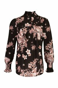 Womens Floral Printed Shirred Neck Cuff Smock Top - Black - 16, Black
