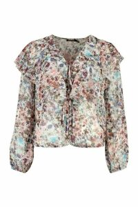Womens Frill Neck Chiffon Blouse - Multi - 12, Multi