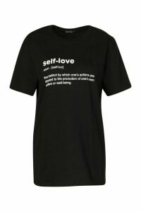 Womens Self Love Slogan T-Shirt - Black - M, Black