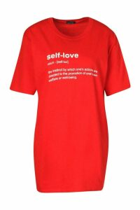 Womens Self Love Slogan T-Shirt - Red - L, Red