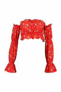 Womens Off The Shoulder Floral Long Sleeve Crop Top - red - 8, Red