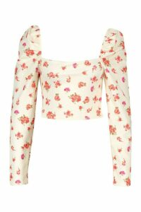 Womens Floral Square Neck Puff Sleeve Top - white - 16, White