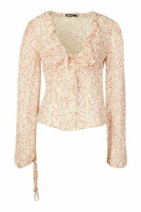 Womens Woven Printed Cup Detail Blouse - White - 6, White