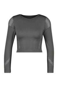 Womens Fit Laser Cut Seam Free Long Sleeve Crop Top - Grey - L, Grey