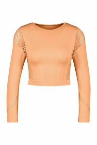 Womens Fit Laser Cut Seam Free Long Sleeve Crop Top - Orange - M, Orange