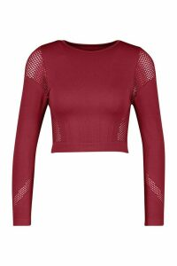 Womens Fit Laser Cut Seam Free Long Sleeve Crop Top - Red - M, Red