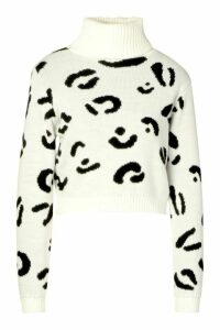Womens Leopard Print Roll Neck Crop Jumper - white - M/L, White