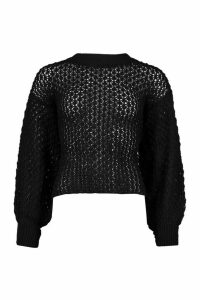 Womens Oversized Balloon Sleeve Panelled Knit - black - M, Black