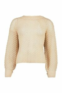 Womens Oversized Balloon Sleeve Panelled Knit - white - M, White