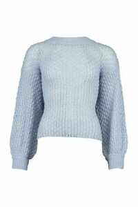 Womens Oversized Balloon Sleeve Panelled Knit - blue - M, Blue