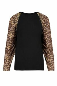 Womens Tall Leopard Long Sleeve T-Shirt - Black - 6, Black