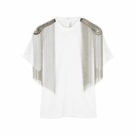 Christopher Kane White Embellished Cotton T-shirt