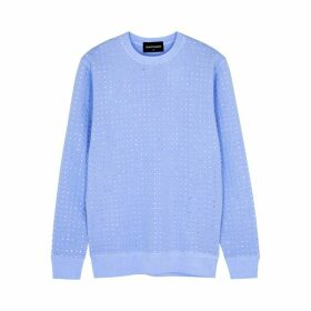 RAGYARD Blue Embellished Cotton-blend Sweatshirt