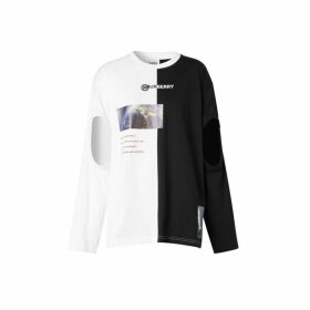 Burberry Cut-out Sleeve Montage Print Cotton Oversized Top
