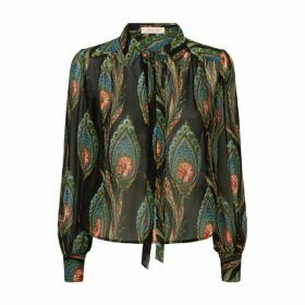 Traffic People Maisie Feather Print Long Sleeved Blouse In Black