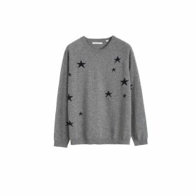 Chinti & Parker Grey Slouchy Star Cashmere Sweater