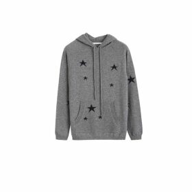 Chinti & Parker Grey Cashmere Star Hoodie