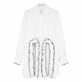 Christopher Kane White Ruffle-trimmed Poplin Shirt