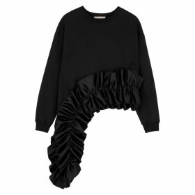 Christopher Kane Black Ruffle-trimmed Cotton Sweatshirt
