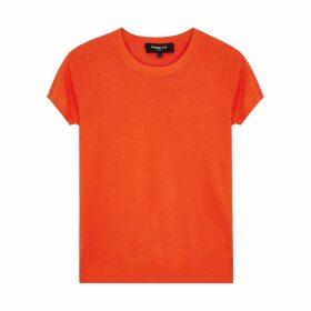 Paule Ka Orange Fine-knit Silk-blend T-shirt