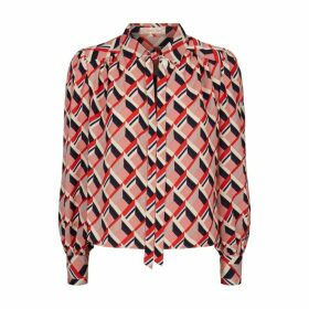 Traffic People Maisie Pussy Bow Long Sleeve Blouse In Red And Beige