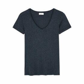 American Vintage Kobibay Navy Slubbed Jersey T-shirt