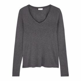 American Vintage Kobibay Grey Slubbed Jersey Top