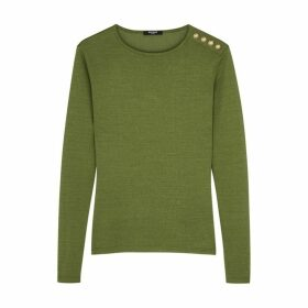 Balmain Army Green Fine-knit Top