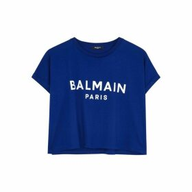 Balmain Blue Logo Cropped Cotton T-shirt