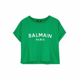 Balmain Green Logo Cropped Cotton T-shirt