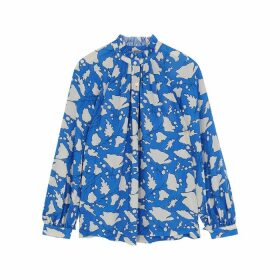 RAQUEL ALLEGRA Blue Printed Silk Blouse