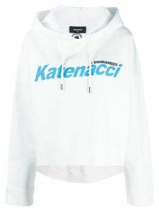 Dsquared2 logo drawstring hoodie - White