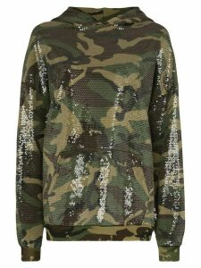 R13 oversized sequinned cotton-blend hoodie - Green