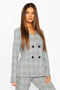 Womens Check Tailored Blazer - blue - 14, Blue